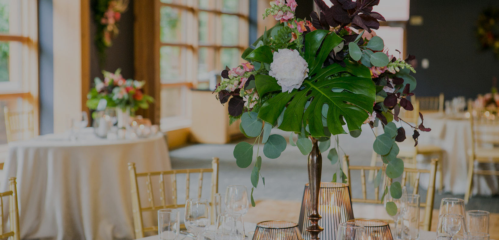 table with floral arrangement